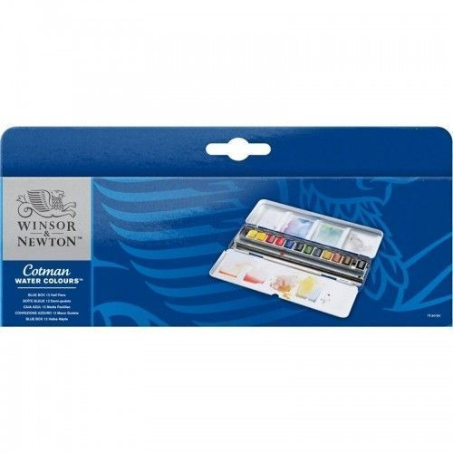 COTMAN WATER COLOURS BLUE BOX 12 HALF PANS