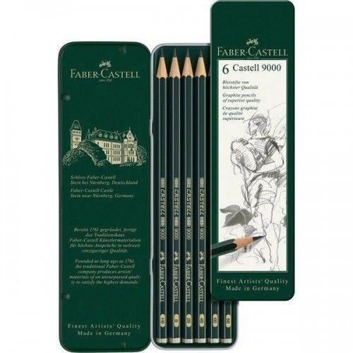 Lápiz grafito Castell 9000 set x6