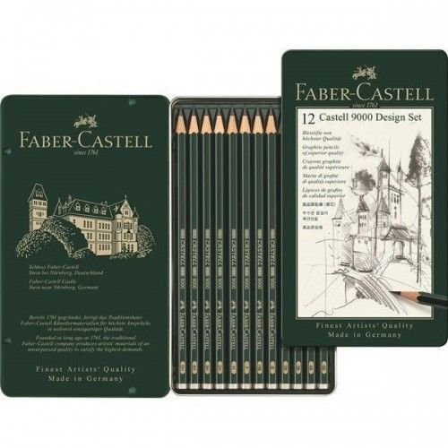 Lápiz grafito Castell 9000 estuche x12