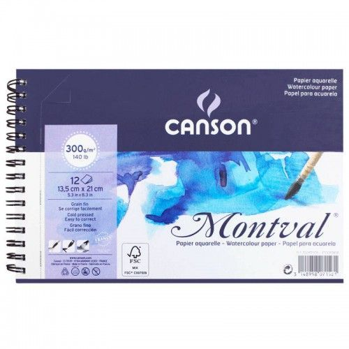 Block Canson Montval 13x21 300grs espiral