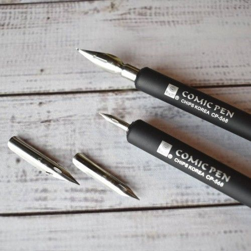 Plumas Comic Pen Set 4 + 2 Portaplumas