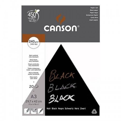 Block Canson Black A3 240grs 20hjs