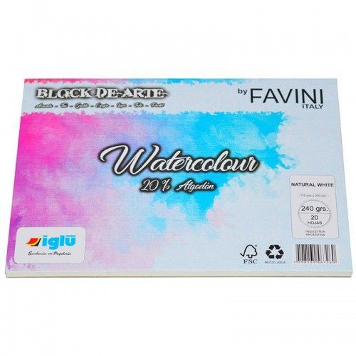 Block Watercolor Favini 240grs 17x25cm 20% de algodon