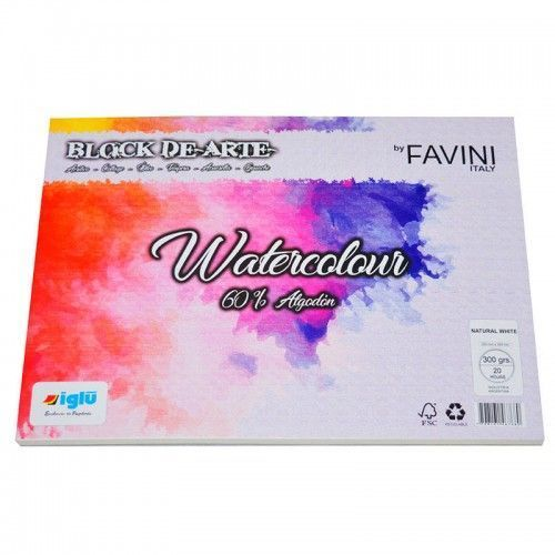 Block Watercolor Favini 300grs 17x25cm 60% de algodon