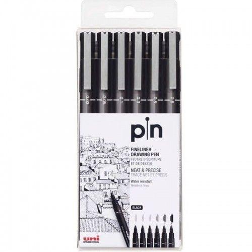 Estuche estilógrafos Uni Pin 6 unidades