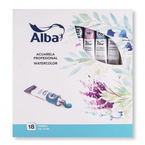 Estuche acuarelas profesionales Alba 10ml 18 unidades