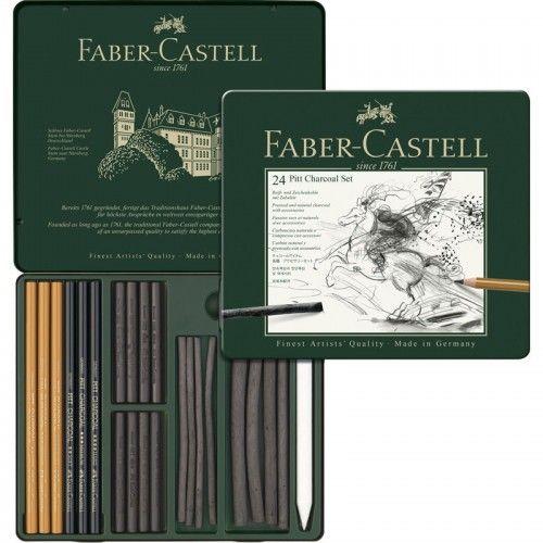 Estuche Pitt Monocromo Carbón Faber Castell 24 unidades