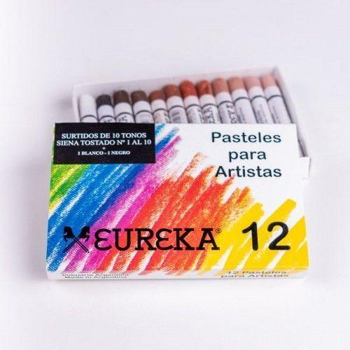 Pastel tiza tonos siena tostado Eureka 12 unidades