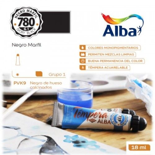 Témpera Profesional Alba Negro Marfil 18ml G1