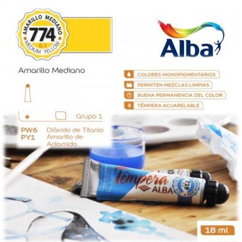 Témpera Profesional Alba Amarillo Mediano 18ml G1