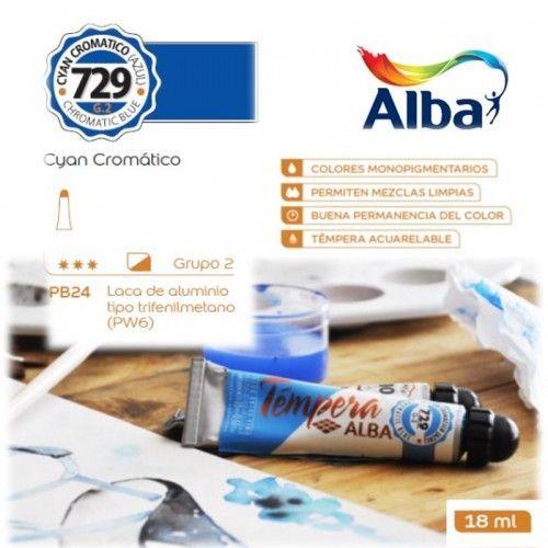 Témpera Profesional Alba Cyan Cromático 18ml G2