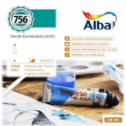 Témpera Profesional Alba Verde Esmeralda (Imit) 18ml G1