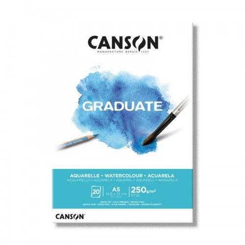 Block Canson Graduate Aquarelle A5 250grs 20hjs