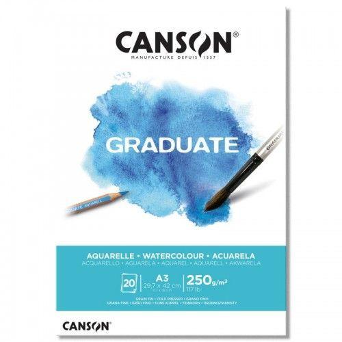Block Canson Graduate Aquarelle A3 250grs 20hjs