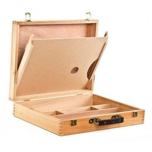 Caja de madera para pintor con paleta 39x30x7cm