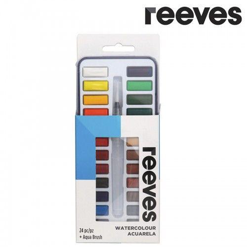 Acuarelas Reeves 24 pastillas + Waterbrush