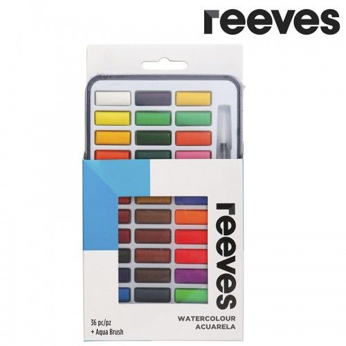 Acuarelas Reeves 36 pastillas + Waterbrush